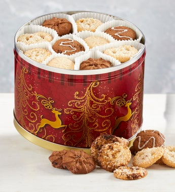 Reindeer Tin with Assorted Holiday Cookies