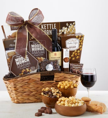With Caring Thoughts Sympathy Wine Gift Basket