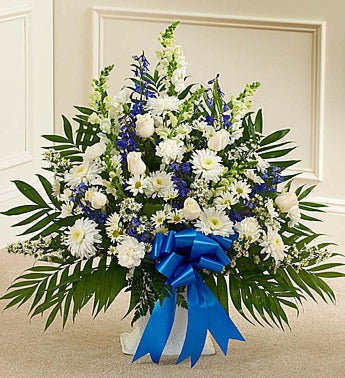 Tribute Blue  White Floor Basket Arrangement