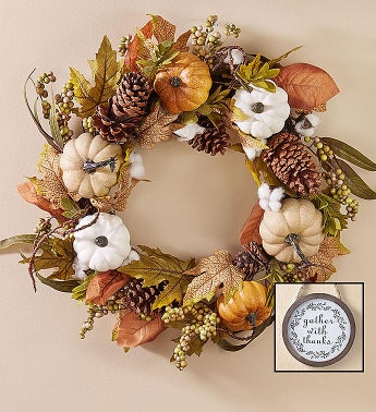 Shades of Autumn Pumpkin Wreath- 24  Centerpiece