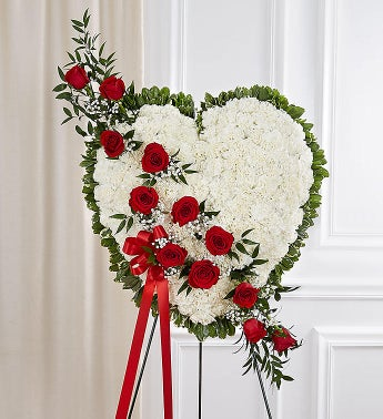 Always in My Heart Floral Heart- Red  White