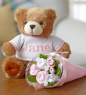 Personalized Bear  Layette Bouquet- Pink or Blue
