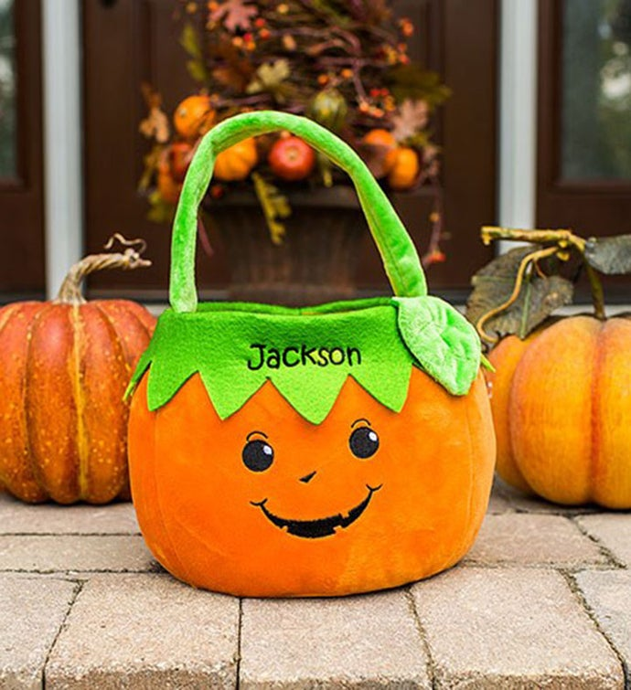 Custom Embroidered Pumpkin Trick or Treat Basket