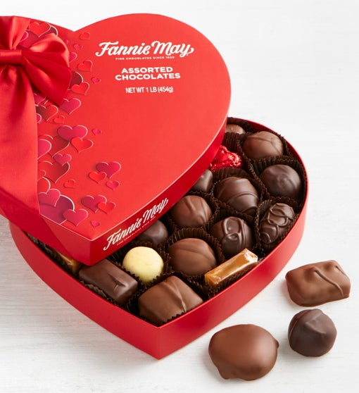 Fannie May Assorted Chocolate Heart Box  1 LB