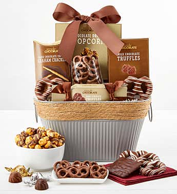 Simply Chocolate Snacking Favorites Basket Deluxe
