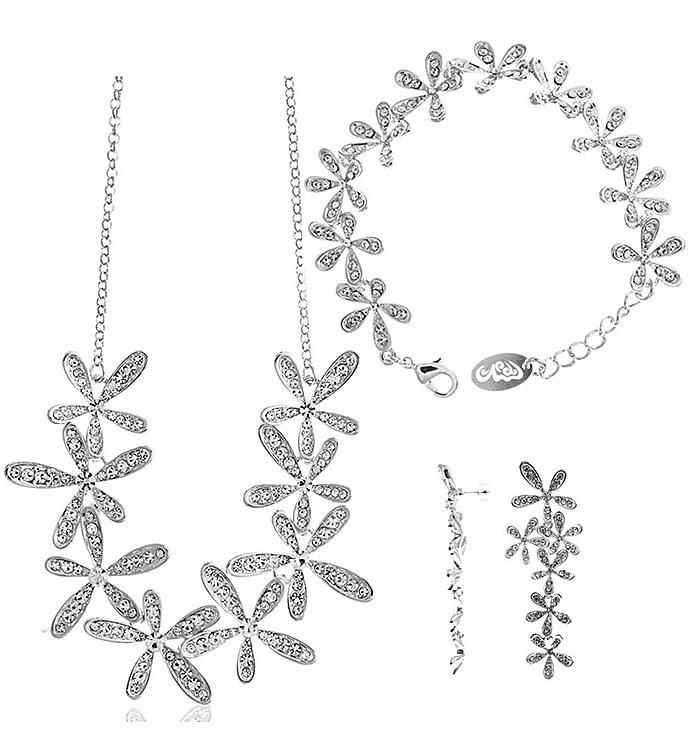 Rhodium Plated Flower design Jewelry Set