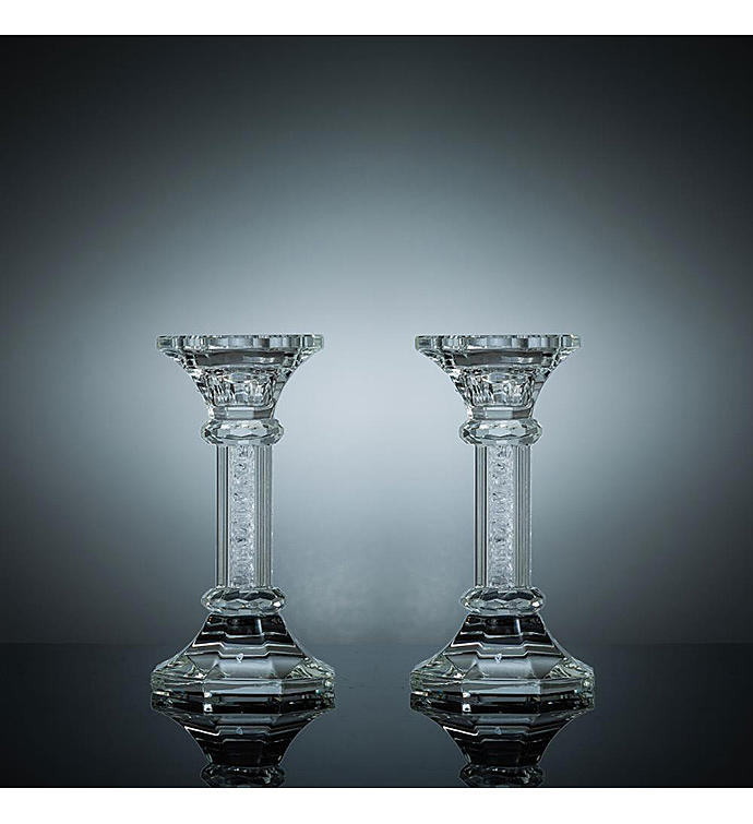 Crystal Candlestick Set with Octagon Shaped Base