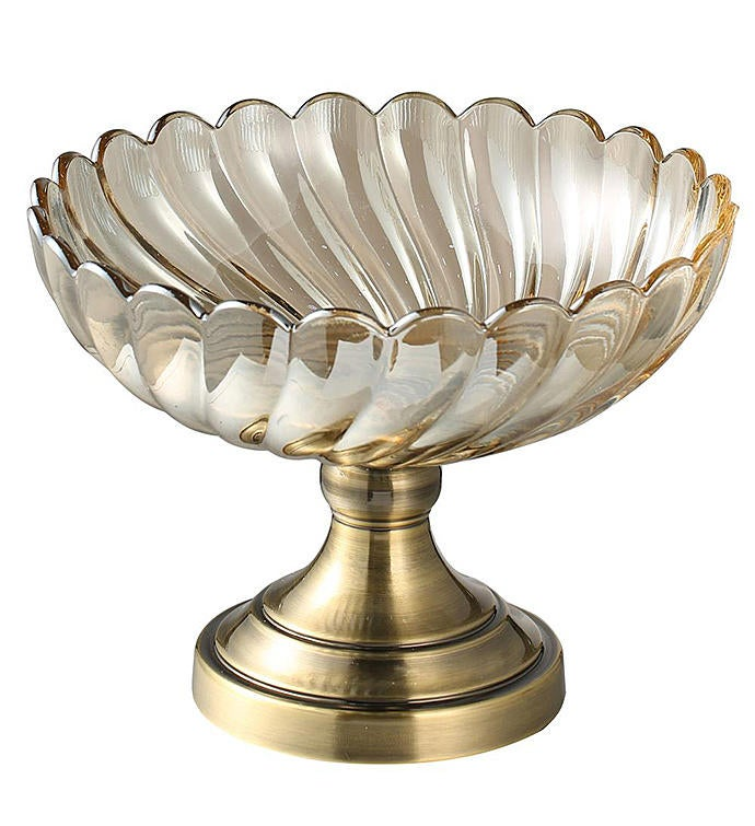 Large Champagne Colored Vintage Glass Candy Dish