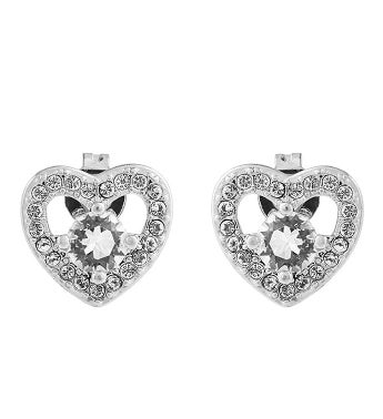 Heart Design White Gold Earrings