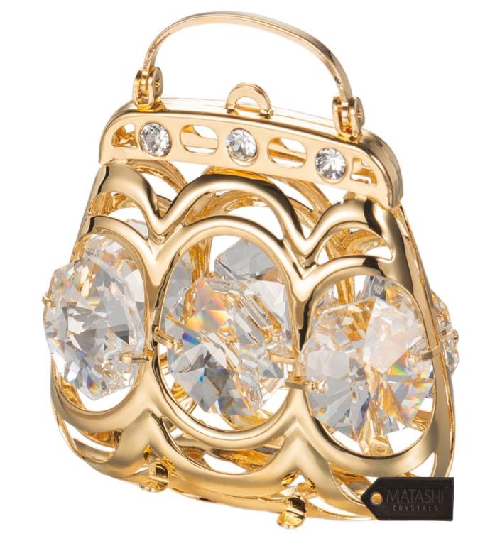 Gold Plated Crystal Studded Purse Ornament