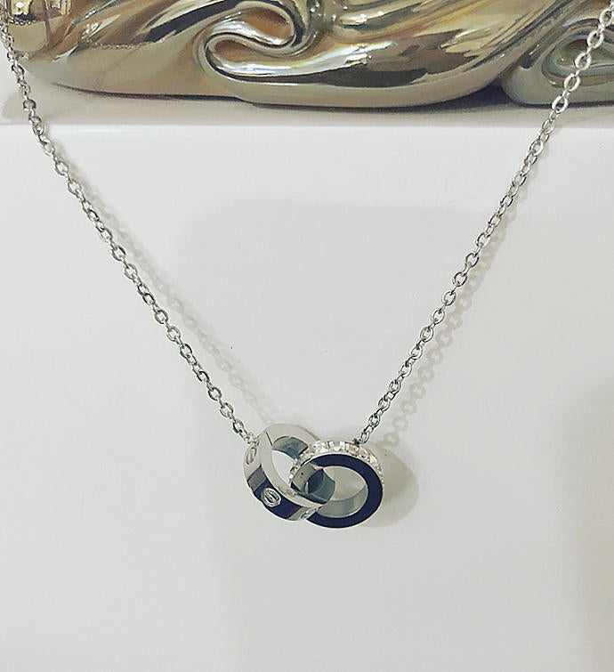 Silver Double Ring Necklace