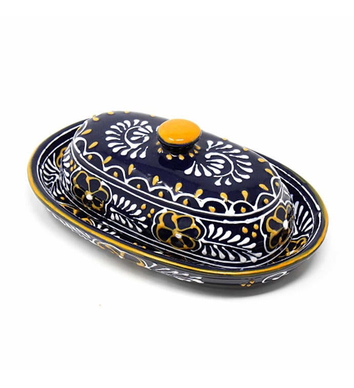 Global Crafts Encantada Handmade Pottery Butter Dish