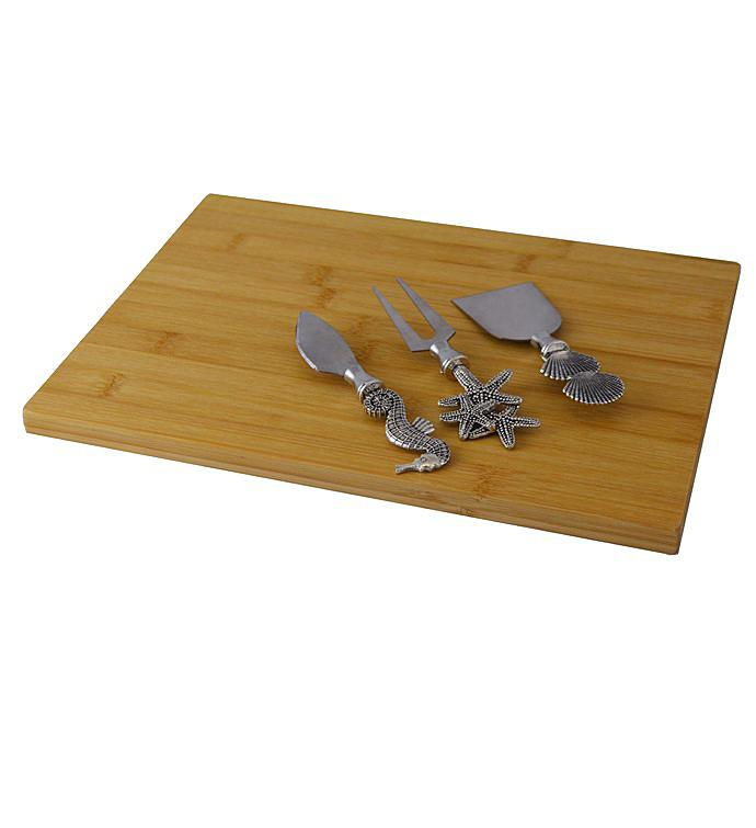 Silver Nautical Cheese Board With 3pc Utensil Set
