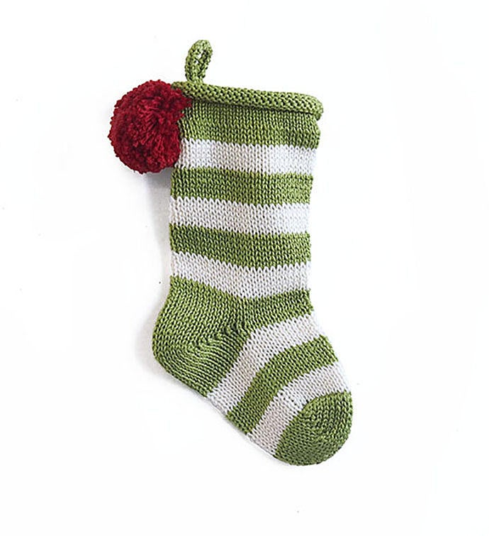 Mini Stripe Stocking with Pom Poms - Green