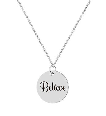 Round Believe Engraved Inspirational Stainless Steel Charm Necklace Free Gift Box