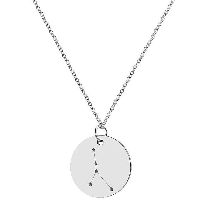 Round Silver Constellation Star Necklace