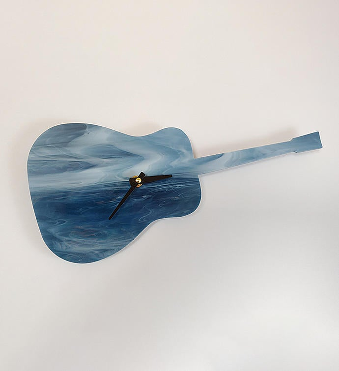 Art Glass Guitar Wall Clock