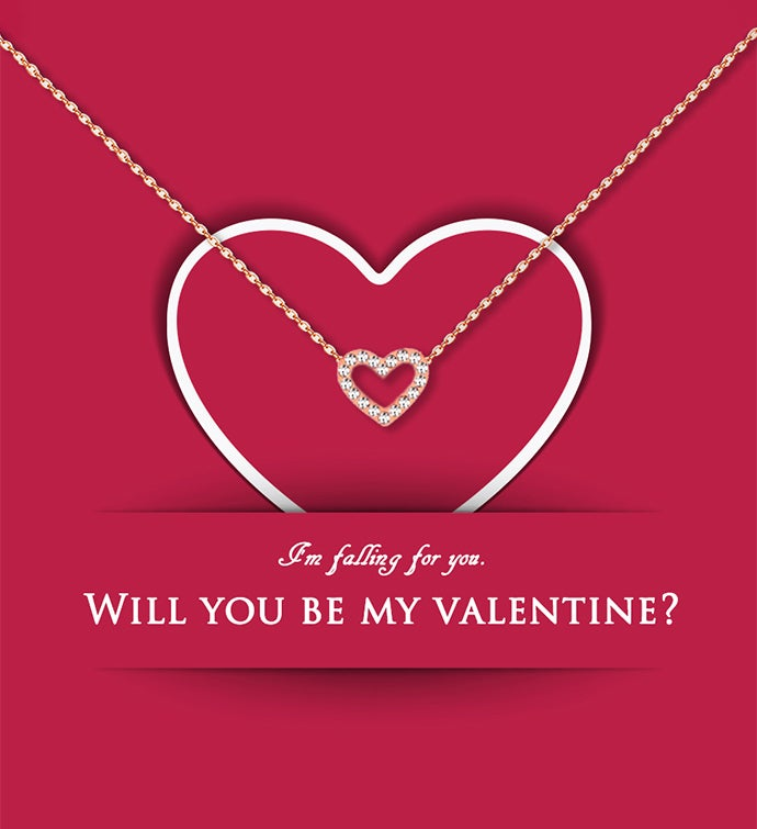 Will You Be My Valentine Mini Heart Valentine39s Day Necklace