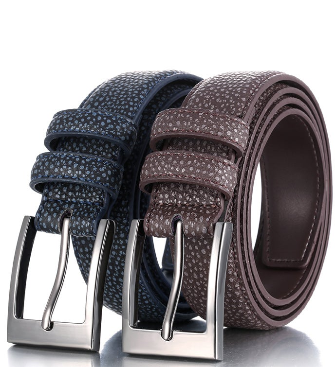 Mio Marino 2-pack Crocodile Pattern Classic Buckle Belt