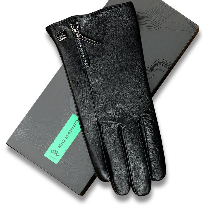 Mio Marino Zipper Designer Nappa Leather Gloves-black