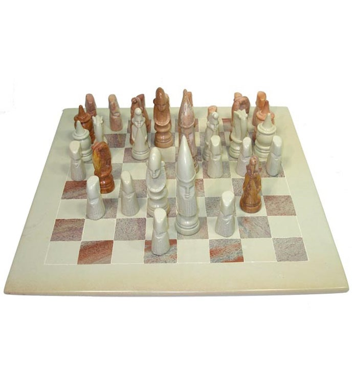 Hand-Carved Soapstone Chess Set