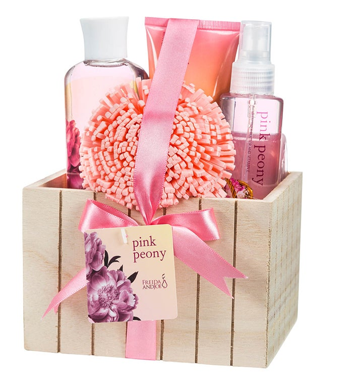 Pink Peony Spa Gift Set in Plant Box