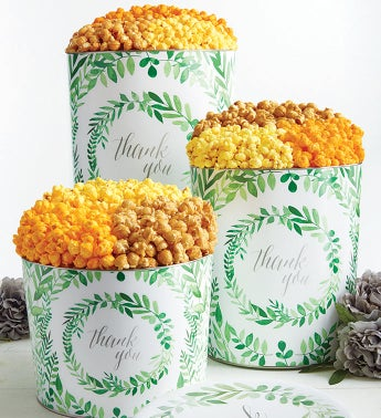 Green Floral Thank You Popcorn Tins